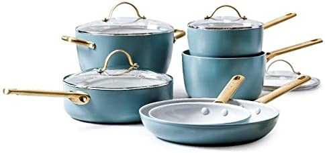 GreenPan CC003716-001 Padova Induction Safe Healthy Ceramic Nonstick 10pc Cookware Set Smokey Blue