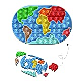 Hnokle Pop Fidget Pop Puzzle Push Bubble Sensory Fidget Toy Soft Silicone Squeeze Map Toy for Training Logical Thinking and Help Restore Map Sensory Fidget Poppers