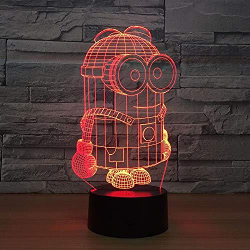 3d Nachtlicht, 7 Farben Little Yellow Man 3D LED Nachtlichter USB Tischlampe Fußball Home Decor Schlafzimmer Minions Schlaf Nachtlicht