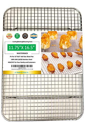 MASTERRACK 100% 304 Stainless Steel Cooling Rack Wire Grate Fit Half Sheet Pan,use at Smoking, Baking,BBQ,Drying,Heavy Duty Commercial Quality,Rusty Proof.(11.75'X16.5')
