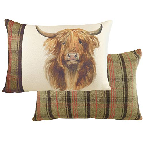 Evans Lichfield Hunter Highland Cow Polyester Filled Cushion, Multi, 40 x 60cm