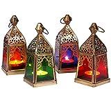 Juego de 4 farolillos orientales Basil multicolor, 16 cm, portavelas oriental de metal y cristal, en 4 colores, farol de cristal marroquí para exteriores como farol de jardín