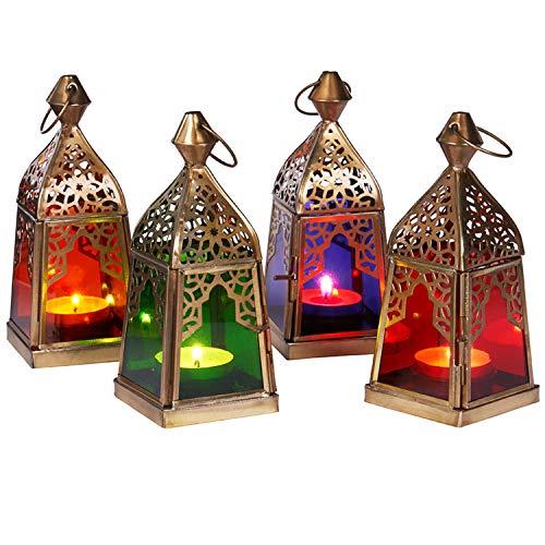 Orientalische Laternen 4 Set Laterne Basil bunt 16cm | Orientalisches Windlicht aus Metall & Glas in 4 Farben | Marokkanische Glaslaterne für draußen als Gartenlaterne in Orange - Blau - Lila - Grün