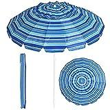 GOPLUS Ombrellone da spiaggia con 16 stecche in fibra di vetro, ombrellone da mare con palo in ferro e lega di zinco da 2,43 m, con Borsa di Trasporto (Gessato blu)