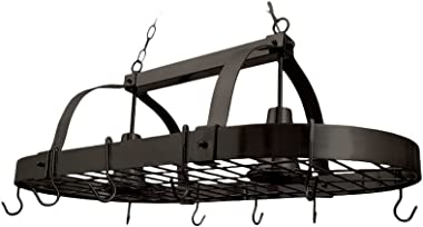 """Elegant Designs PR1000-ORB Home Collection 2 Light Kitchen Pot Rack with Downlights, 3.85"""", Oil Rubbed Bronze"""
