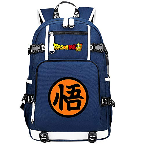 ZZGOO-LL Dragon Ball Son Goku/Vegeta IV/Torankusu Anime Cosplay Bookbag College Bag Backpack School Bag with USB Charging Port-A