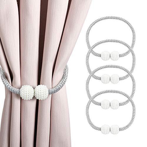 HANGOU Magnetisches Vorhang Zugband 2 Stück Praktische Raff-Zugbänder mit Perlenkugel-Dekoration Vorhangbandhalterung erhältlich für Heim und Büro (grau)