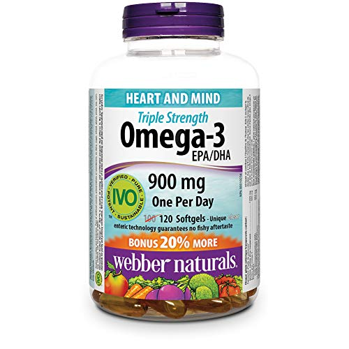 Webber Naturals Triple Strength Omega-3, Value Size, 900 Mg (Epa · Dha) Bonus 20-Percent More, 120-Count