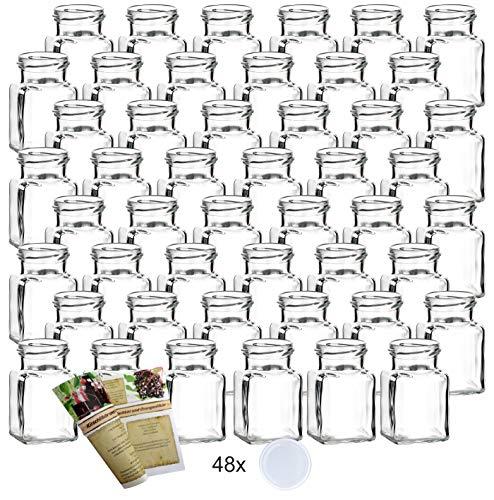 """gouveo 48er Set Einmachgläser \""""Quadrat\"""" 150 ml incl. Drehverschluss Weiß und 28-seitige Flaschendiscount-Rezeptbroschüre, Vorratsgläser, Marmeladengläser, Einkochgläser, Gewürzgläser, Einweckgläser von Flaschendiscount"""