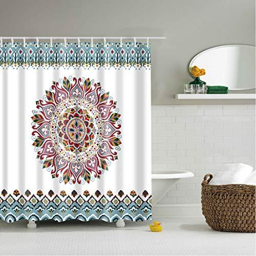 X-Labor Bunt Baum Duschvorhang 240x200cm Anti-Schimmel Wasserdicht Polyester Textil Stoff Badewannevorhang Shower Curtain (240 * 200cm (BxH), Mandala)