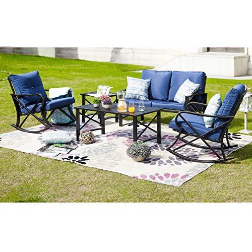 LOKATSE HOME 5Pcs Patio Furniture Conversation Bistro Sets Loveseat and 2 Coffee Table, 5 pcs Chair, Blue