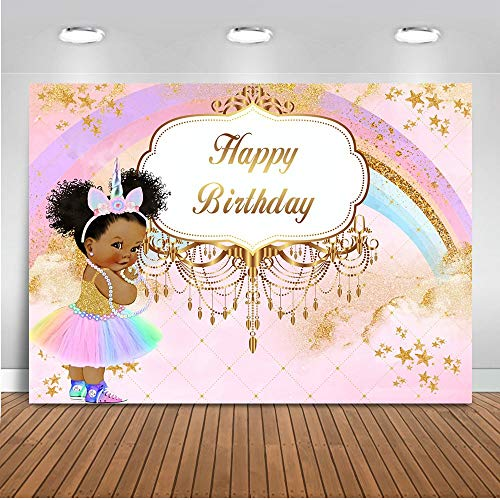 Mehofoto Royal Princess Birthday Backdrop Pink Unicorn Rainbow Birthday Photography Background 7x5ft Vinyl Little Princess Birthday Party Banner Decoration Backdrops