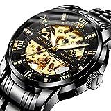 Men's Watch Black Mechanical Stainless Steel Skeleton Waterproof Automatic Self-Winding Roman Numerals Diamond Dial Wrist Watch