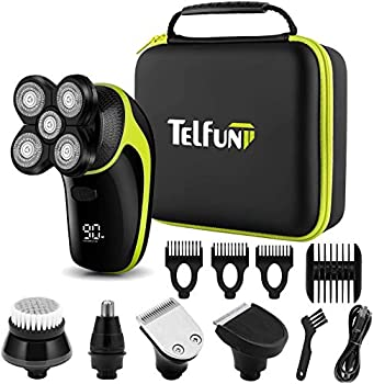 Telfun Head Shavers for Bald Men 5-in-1 Electric Razor for Men w/h LED Display IPX7-Waterproof Faster-Charging Mens Grooming Kit w/h Beard Trimmer Nose Hair & Hair Clippers Facial Cleaning Brush
