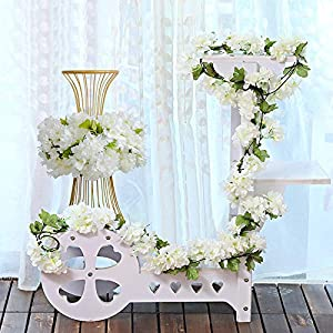 YIBELAAT 4pcs Artificial Flower Garlands Cherry Blossom Flower Vine Fake Silk Hanging Vine for Wedding Home Arch Decoration (White)