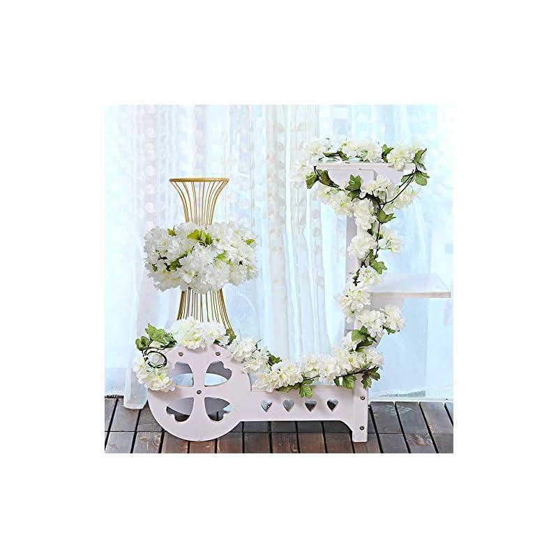 silk flower arrangements yibelaat 4pcs artificial flower garlands cherry blossom flower vine fake silk hanging vine for wedding home arch decoration (white)