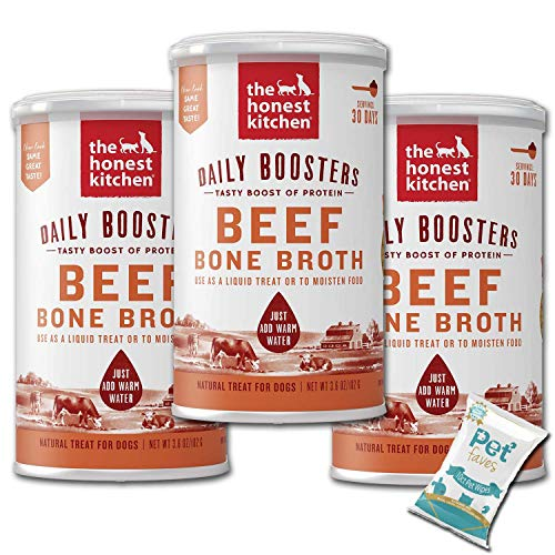 (3 Pack) The Honest Kitchen Probiotic Goat's Milk, Beef Bone Broth and Herbal Digestive Supplement Pet Food for Cats and Dog with 10ct Pet Faves Wipes (Beef Bone Broth)