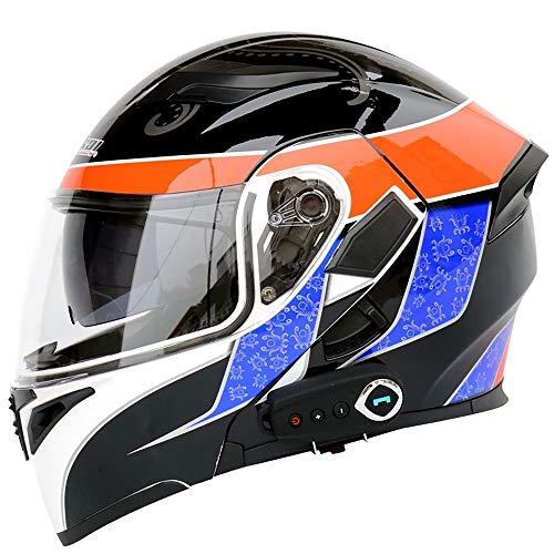 boaber Casco de motocicleta con doble lente y doble cara abierta, casco de motocicleta, casco de motocicleta con micrófono oculto FM (color: negro, tamaño: M)