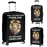 Fearless Lion Head Luggage Suitcase Cover Protector Decor Lion Gift Item (Large)