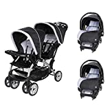 Baby Trend Sit N Stand Easy Fold Toddler Baby Double Stroller and 2 Infant Comfortable Carry Car Seats Travel System Combo, Stormy
