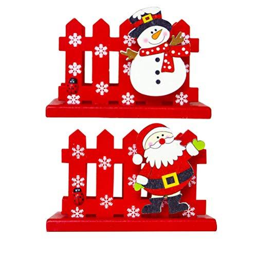PRETYZOOM - Valla de Navidad con forma de dibujos animados para tarjetas de visita de madera, soporte para tarjetas, organizador de almacenamiento para oficina (Santa + muñeco de nieve)