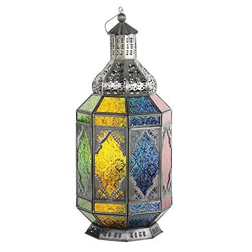 albena shop 71-4953 Trasu Linterna Oriental Estilo marroquí 45 cm Metal/Cristal Colorido