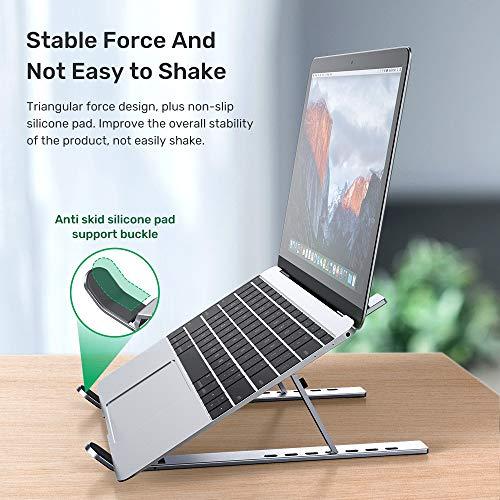 TOPK Laptop Ständer, 7-Stufe Höhenverstellbar Notebook Computer Ständer Tragbarer Faltbar Aluminium Laptop Stand Halterung Kompatibel mit 10-15,6-Zoll-Laptops Silber