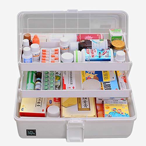 XXLYY Medicine Box Kunststoff 3 Ebenen Transparente Erste-Hilfe-Box Multifunktionale Sortierbox mit Griff 33 x 18 x 17,5 cm, Kunststoff, Grau, 33 * 18 * 17,5 cm