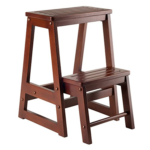 Winsome Wood -WW Stool, Antique Walnut
