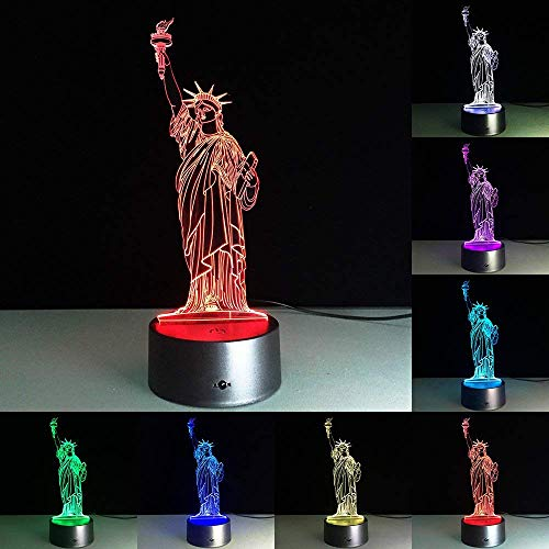 RUMOCOVO Statue Of Liberty 3D LED Visual Night Light 7 Color Changing LED Home Office Decorations Atmosphere Lamp Birthday Gift Sleep Lighting
