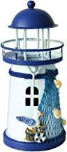 Gotian Mediterranean Lighthouse Iron Candle Candlestick Blue White Home Table Decor, Romantic Mediterranean Style Home Decor Ornament, a Great Gift for Friends (C)