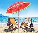 AMMSUN 6ft Portable Beach Umbrella UV Protection Sun Shade Shelter Watermelon...
