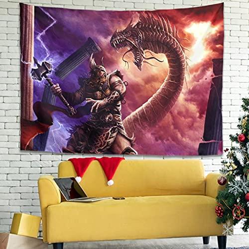 Wandlovers Tapiz de pared con diseño de martillo vikingo, diseño de dragón, decoración de pared o sofá, color blanco, 230 x 150 cm