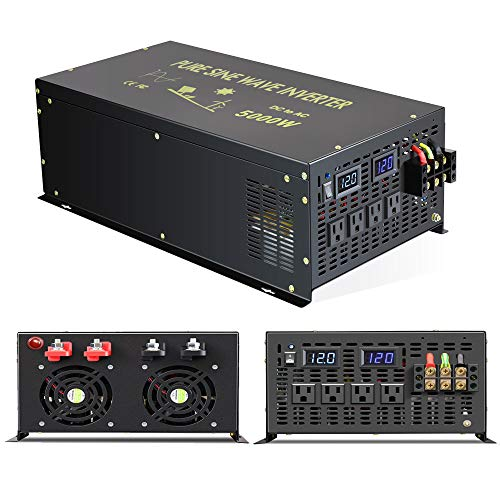 Reliable 5000W Continuous Power Heavy Duty Pure Sine Wave Power Inverter DC 12V to AC 110V 120V with 4 AC Outlets 41Amps Hardwire Terminal and LED Display for RV Car Solar System Emergency