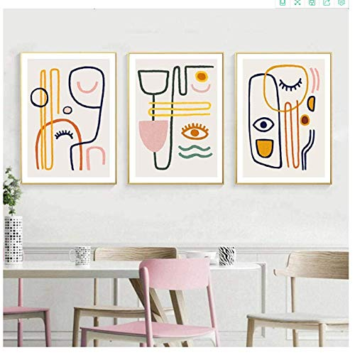 Canvas Artwork Painting 3x60x80cm(23.6x31.5in) no frame Nordic Modern Abstract Line Simple Style Good Eyes Poster Picture Wall Living Room Home Decor