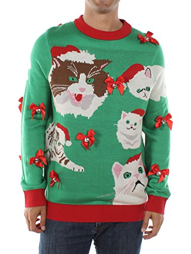 Tipsy Elves Men's Crazy Cat Man Ugly Christmas Sweater (Large) Green