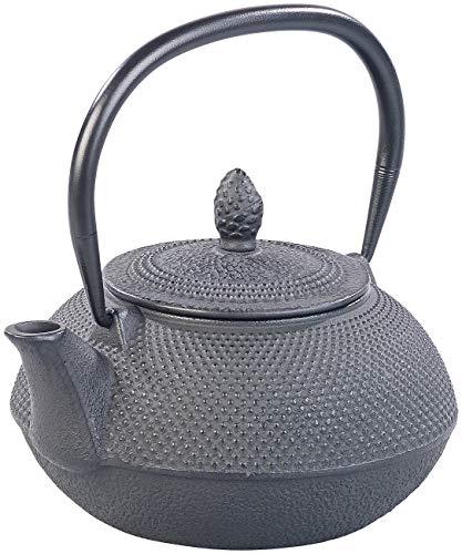 Rosenstein & Söhne Teekessel: Asiatische Teekanne aus Gusseisen mit Edelstahl-Sieb, 0,9 l, schwarz (Tee-Kanne)