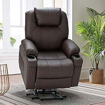 Esright Power Lift Chair Electric Recliner Sofa for Elderly Faux Leather Electric Recliner Chair with Heated Vibration Massage Side Pocket Cup Holder and USB Port Dark Brown