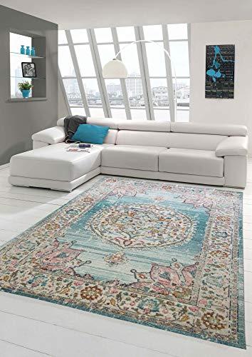 Teppich Orient Teppich Outdoor Wohnzimmerteppich Vintage in blau Creme Größe 240 x 340 cm
