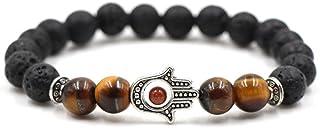 Reizteko Jewelry Hamsa Hand Beaded Stretch Bracelet - Natural 8mm Lava Stone Protection (Tiger Eye)
