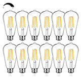 12Packs Vintage LED Edison Bulbs, 60W Equivalent 7W, 800Lumens, Dimmable ST64 Antique LED Filament, Soft Warm White 2700K, E26 Medium Base Light Bulbs High Brightness Clear Glass for Bedroom Office