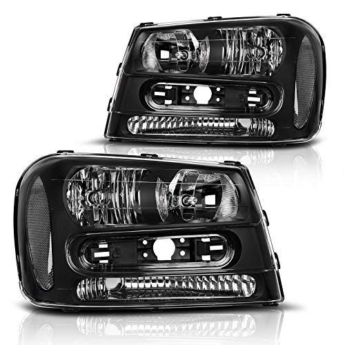 DWVO Compatible with 2002-2009 Chevy Trailblazer Headlight Assembly W/Full Width Grille Headlamp Replacement Amber Reflector (Not fit LT models)