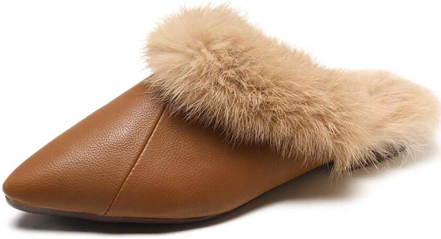 Womens Plush shoes Flat Heel Slippers Closed Toe Pointed shoes Fall Winter