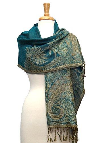 Fashmina Original Paisley Pashmina Shawl Scarf Turquoise/Gold