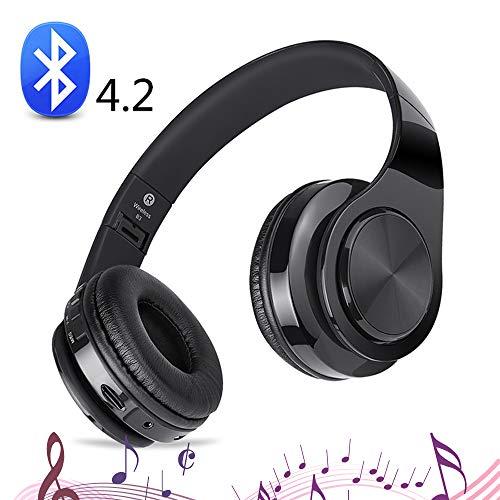 SHENGY Draadloze inklapbare hoofdtelefoon, bluetooth-headset, support microfoon, AUX-audio, TF-kaart, 10 uur speeltijd, voor alle smartphones, TV's, pc's, MP3, zwart