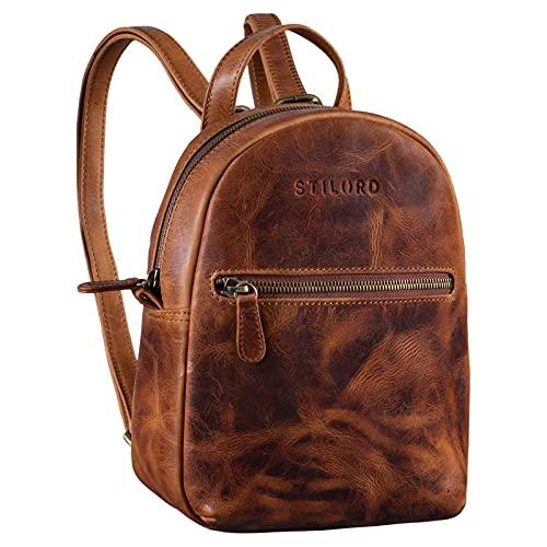 STILORD 'Lola' Mini Daypack Damen Lederrucksack Cityrucksack Kleiner Tagesrucksack Rucksack Tasche für Frauen XS Stadtrucksack aus Echtem Leder, Farbe:Kara - Cognac