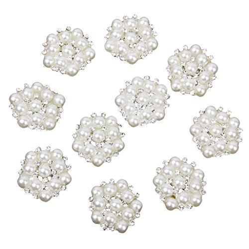 SDENSHI Lote 10 Broche de Botón de Flor de Cristal de Perlas Plateadas para Decoración de Ropa de Bricolaje Flatback