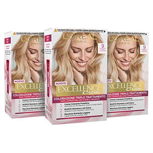 L'Oréal Paris Tinta Capelli Excellence, Copre il 100% dei Capelli Bianchi, a Lunga Durata, 9 Biondo Chiarissimo, Confezione da 3