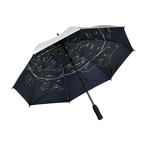 eBuyGB Two Tone Automatic Constellation Umbrella Foam Handle Nylon Galaxy Storm Proof Stick Umbrella, 82 cm, Silver.