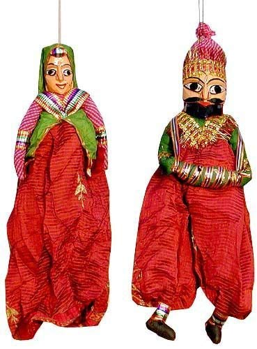 Jaipur Handicraft Rajasthani Puppets (Multicolour, 38.1 cm)